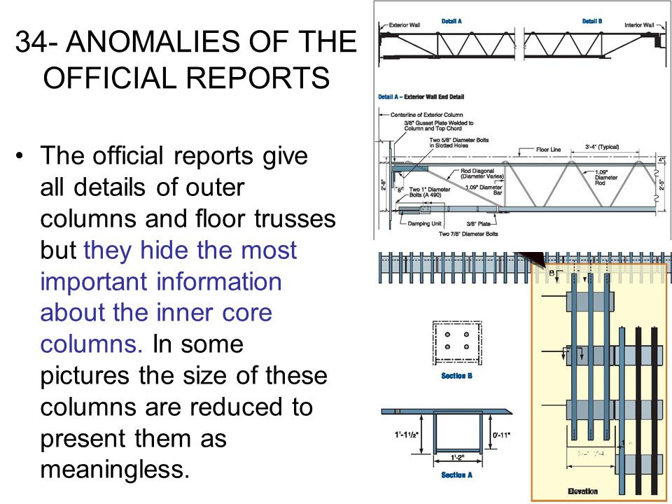 34- ANOMALIES OF THE OFFICIAL REPORTS The official reports give all details of outer columns and floor trusses but they hide the most important inform