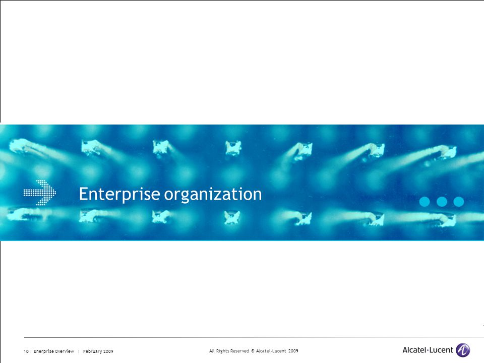 All Rights Reserved © Alcatel-Lucent 2009 10 | Enerprise Overview | February 2009 Enterprise organization