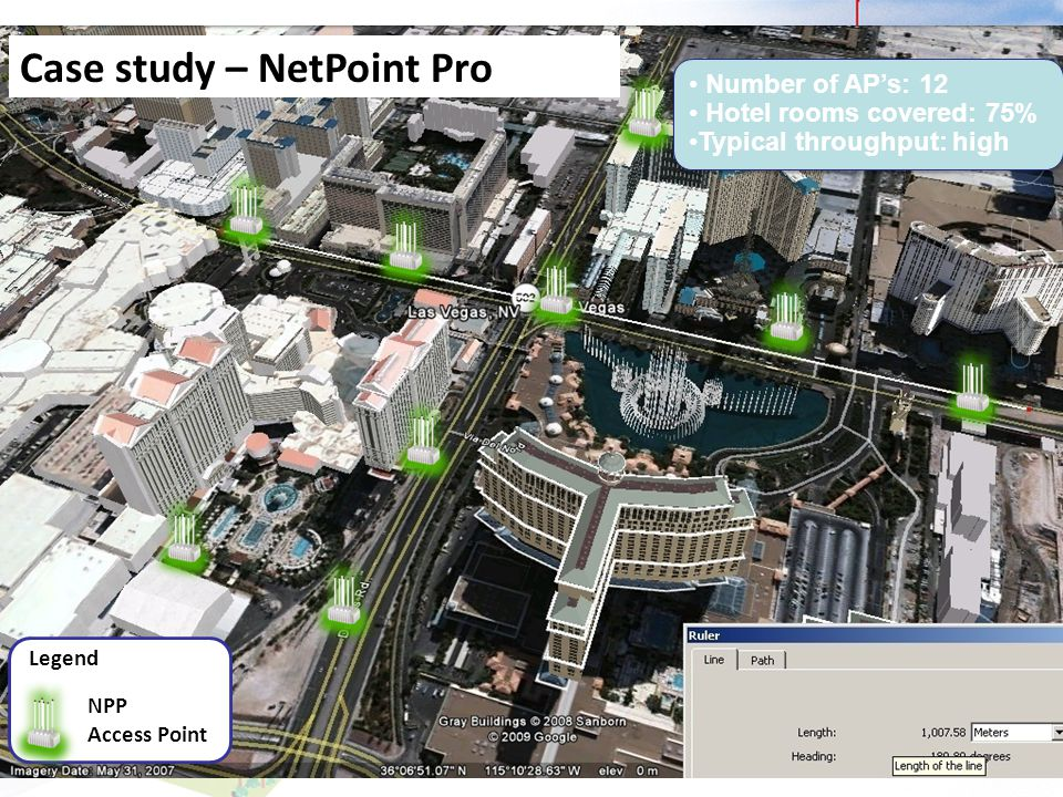 Case study – NetPoint Pro Number of APs: 12 Hotel rooms covered: 75% Typical throughput: high Number of APs: 12 Hotel rooms covered: 75% Typical throu
