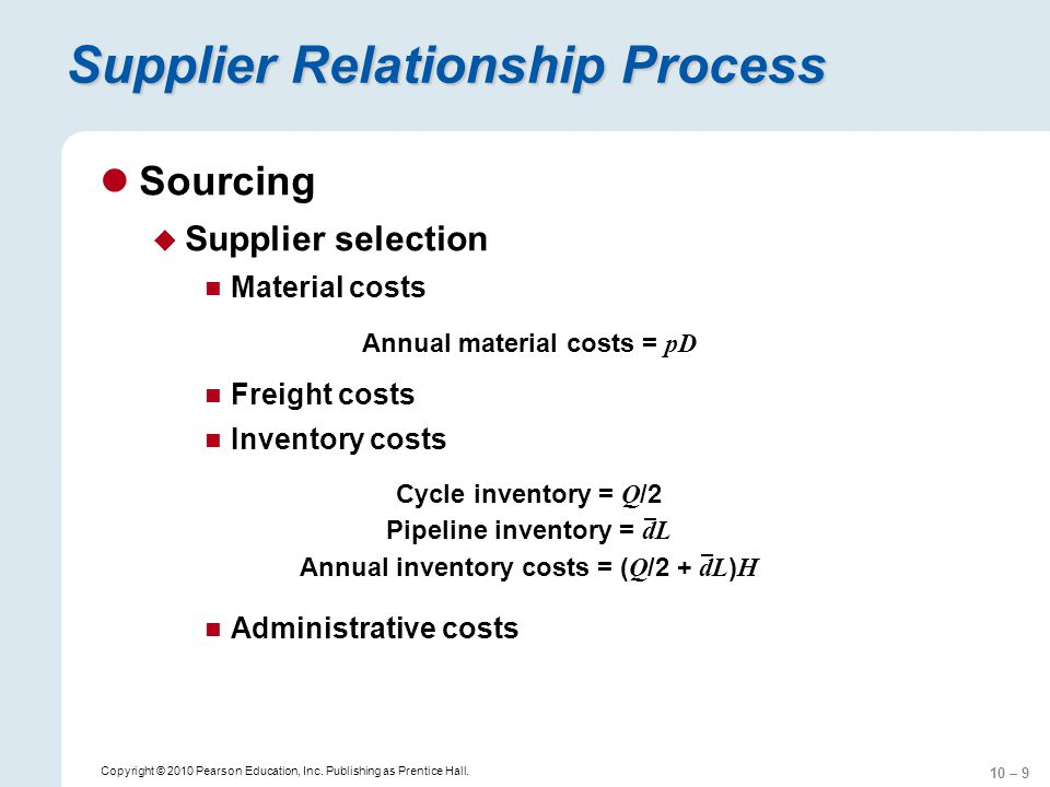 10 – 9 Copyright © 2010 Pearson Education, Inc. Publishing as Prentice Hall. Supplier Relationship Process Sourcing Supplier selection Material costs