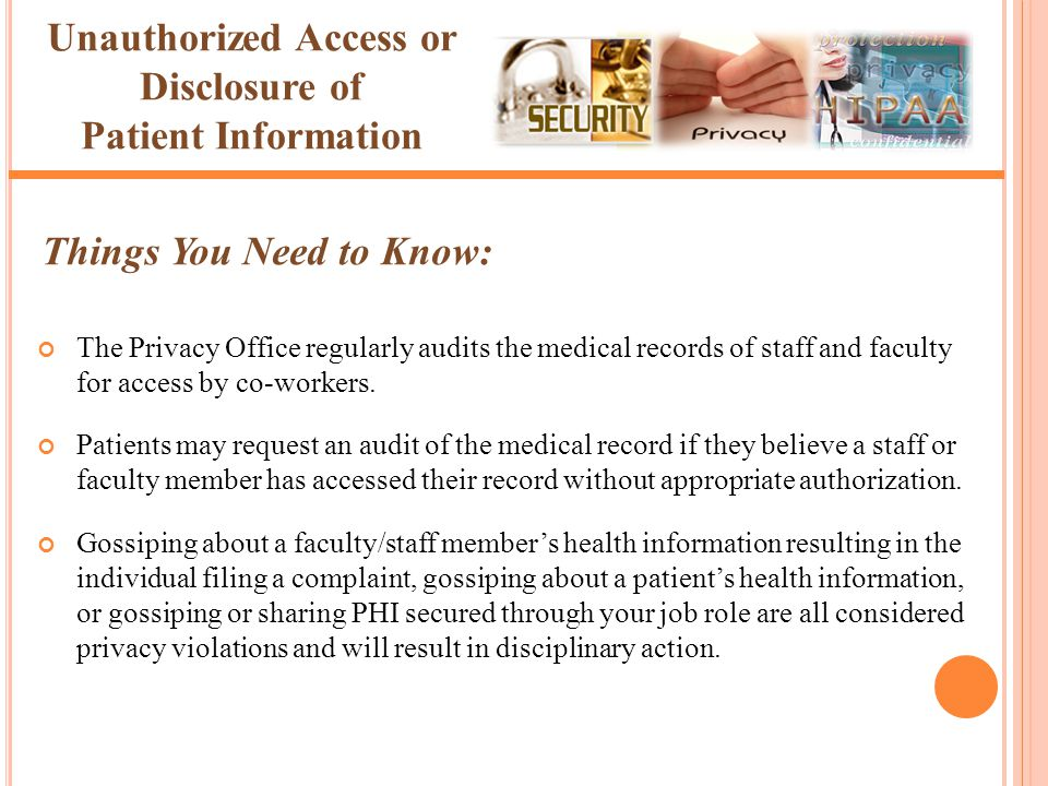 The Privacy Office regularly audits the medical records of staff and faculty for access by co-workers. Patients may request an audit of the medical re