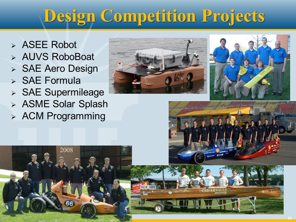 53 Design Competition Projects ASEE Robot AUVS RoboBoat SAE Aero Design SAE Formula SAE Supermileage ASME Solar Splash ACM Programming