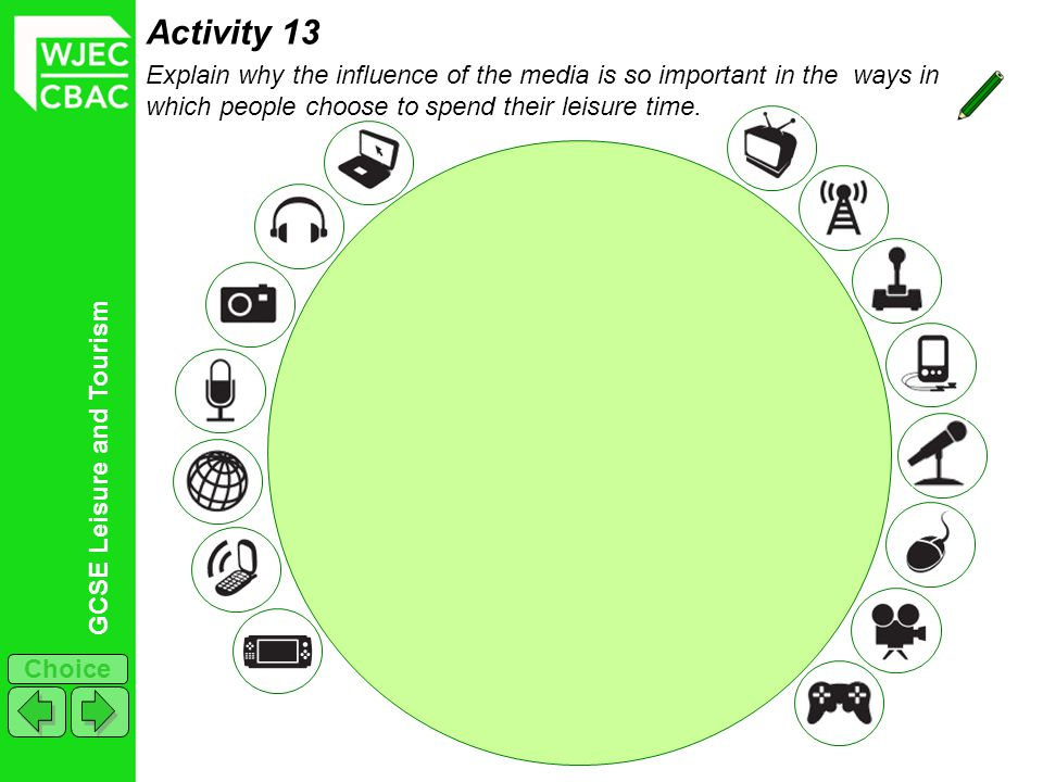 GCSE Leisure and Tourism Choice Activity 13 Explain why the influence of the media is so important in the ways in which people choose to spend their leisure time.