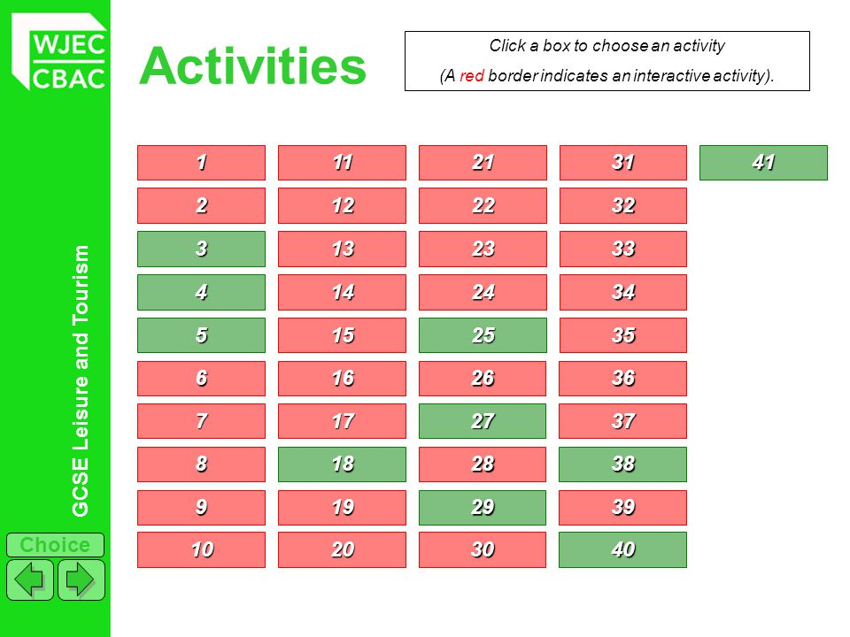 GCSE Leisure and Tourism Choice Activities 1111 2222 3333 4444 5555 6666 7777 Click a box to choose an activity (A red border indicates an interactive activity).