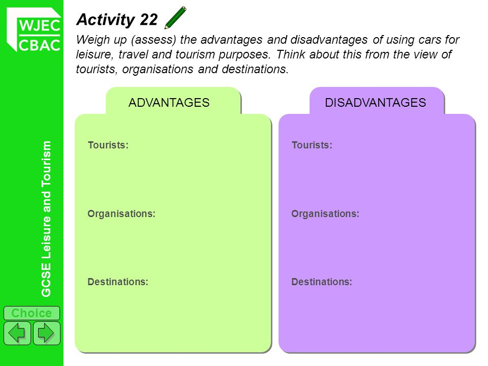 GCSE Leisure and Tourism Choice Activity 22 Weigh up (assess) the advantages and disadvantages of using cars for leisure, travel and tourism purposes.