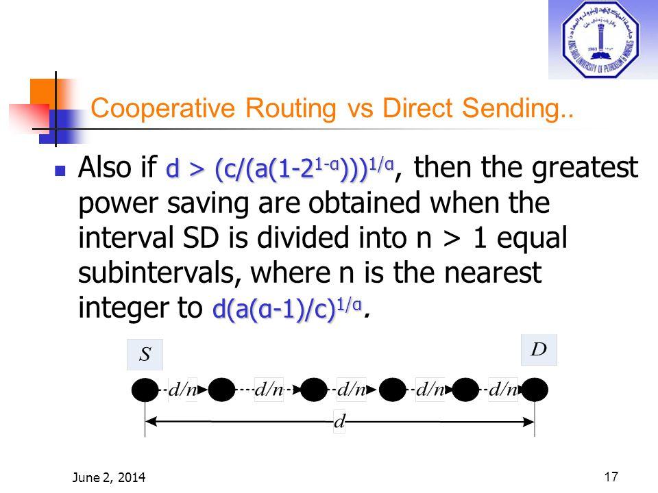 June 2, 201417 d > (c/(a(1-2 1-α ))) 1/α d(a(α-1)/c) 1/α Also if d > (c/(a(1-2 1-α ))) 1/α, then the greatest power saving are obtained when the interval SD is divided into n > 1 equal subintervals, where n is the nearest integer to d(a(α-1)/c) 1/α.