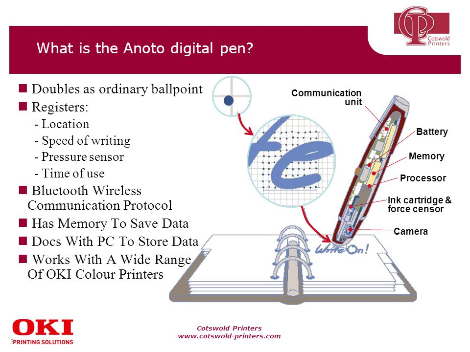 Cotswold Printers www.cotswold-printers.com 3 What is the Anoto digital pen.
