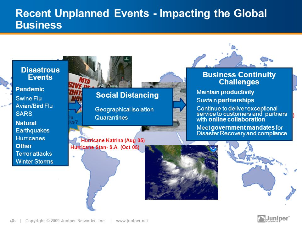 | Copyright © 2009 Juniper Networks, Inc. | www.juniper.net 3 Recent Unplanned Events - Impacting the Global Business Asia Quake Disaster (Dec 04) Hur