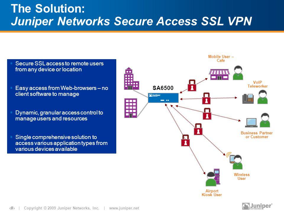   Copyright © 2009 Juniper Networks, Inc.   www.juniper.net 5 The Solution: Juniper Networks Secure Access SSL VPN VoIP Teleworker Business Partner or