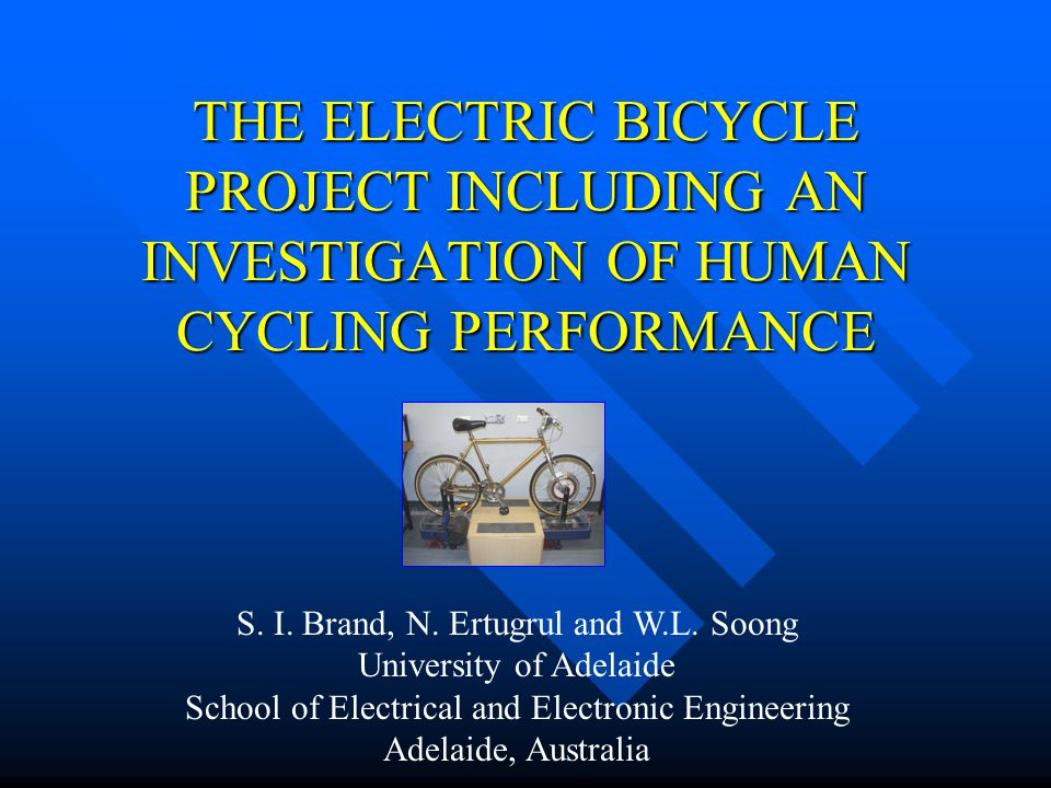 INTRODUCTION BENEFITS OF ELECTRIC BICYCLES BENEFITS OF ELECTRIC BICYCLES –CLEAN –QUIET –EFFICIENT –ECONOMICAL –REDUCED TRAFFIC CONGESTION DETERMINE HUMAN POWER FROM DETERMINE HUMAN POWER FROM –Stationary Tests and Mobile Tests DESIGN AND BUILD CUSTOM HUB DESIGN AND BUILD CUSTOM HUB INVESTIGATE BATTERY OPTIONS INVESTIGATE BATTERY OPTIONS DEVELOP CONTROL SYSTEM DEVELOP CONTROL SYSTEM PROJECT SCOPE