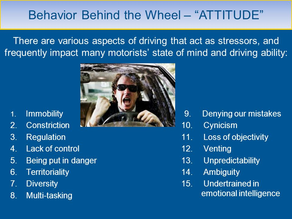 There are various aspects of driving that act as stressors, and frequently impact many motorists state of mind and driving ability: 1. Immobility 2. C
