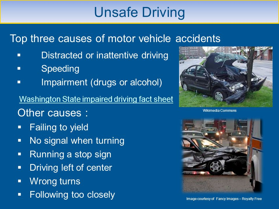 Unsafe Driving Other causes : Failing to yield No signal when turning Running a stop sign Driving left of center Wrong turns Following too closely Ima
