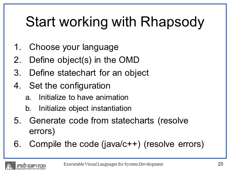Executable Visual Languages for System Development20 Start working with Rhapsody 1.Choose your language 2.Define object(s) in the OMD 3.Define statechart for an object 4.Set the configuration a.Initialize to have animation b.Initialize object instantiation 5.Generate code from statecharts (resolve errors) 6.Compile the code (java/c++) (resolve errors)