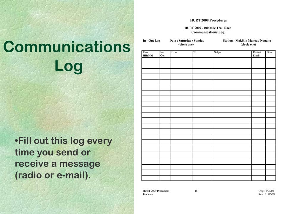 Fill out this log every time you send or receive a message (radio or e-mail). Communications Log