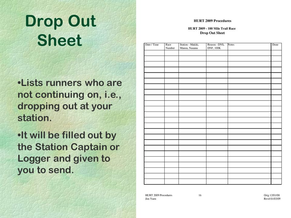Drop Out Sheet Lists runners who are not continuing on, i.e., dropping out at your station. It will be filled out by the Station Captain or Logger and