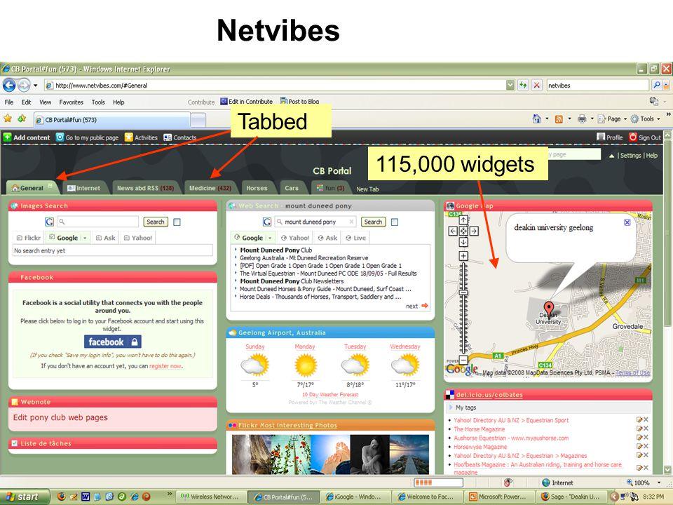 Tabbed Netvibes 115,000 widgets