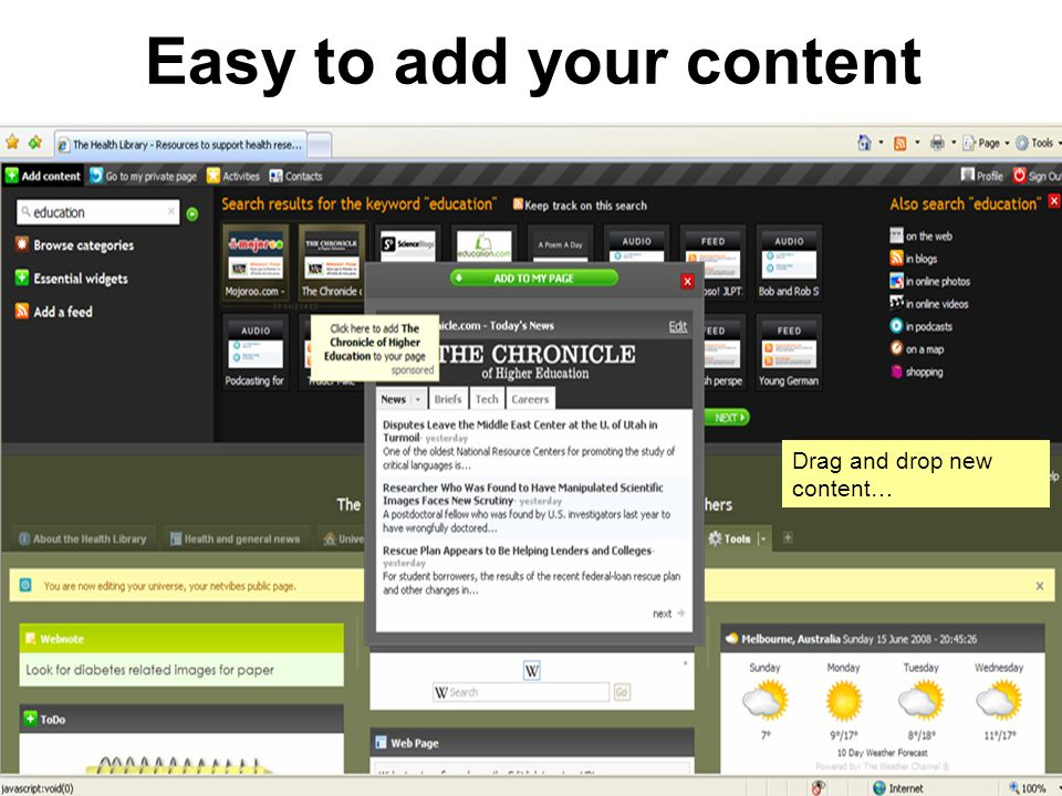 Easy to add your content Drag and drop new content…