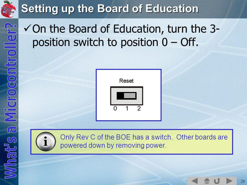 29 Setting up the Board of Education On the Board of Education, turn the 3- position switch to position 0 – Off.