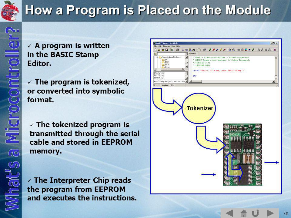 38 How a Program is Placed on the Module A program is written in the BASIC Stamp Editor.