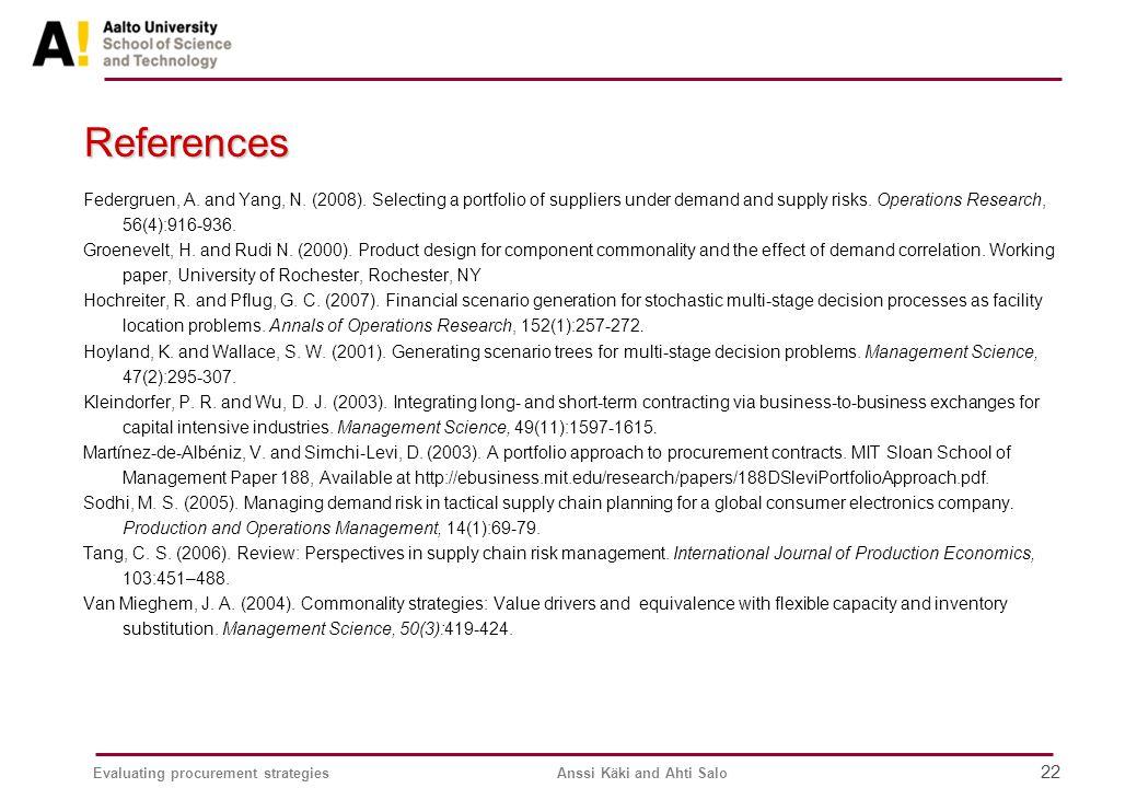 Evaluating procurement strategiesAnssi Käki and Ahti Salo 22 References Federgruen, A.
