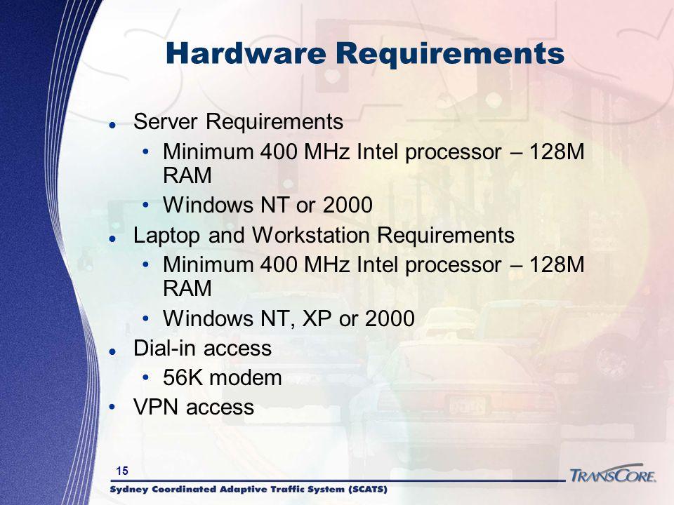 15 Hardware Requirements Server Requirements Minimum 400 MHz Intel processor – 128M RAM Windows NT or 2000 Laptop and Workstation Requirements Minimum
