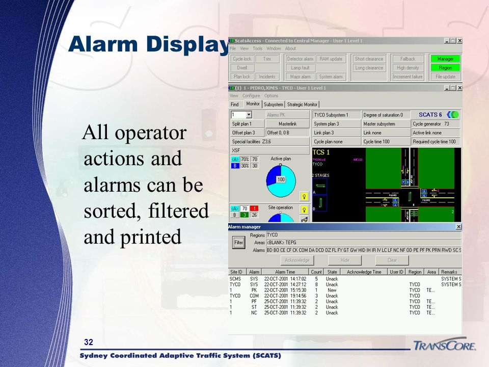 32 Alarm Display All operator actions and alarms can be sorted, filtered and printed