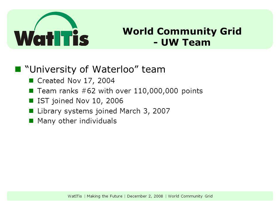 World Community Grid - UW Team University of Waterloo team Created Nov 17, 2004 Team ranks #62 with over 110,000,000 points IST joined Nov 10, 2006 Library systems joined March 3, 2007 Many other individuals WatITis | Making the Future | December 2, 2008 | World Community Grid