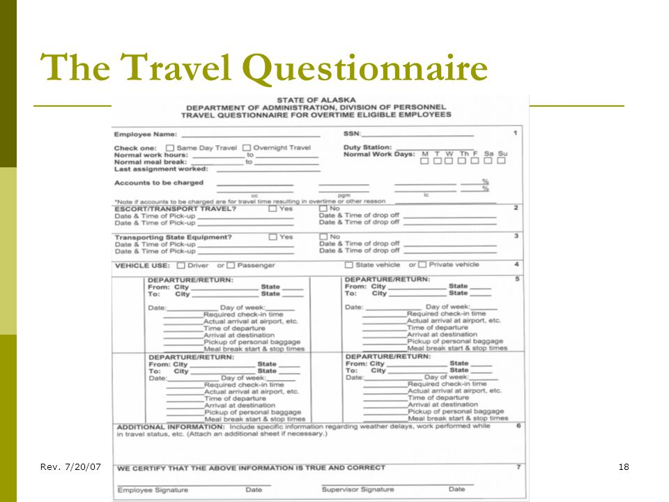 Rev. 7/20/0718 The Travel Questionnaire