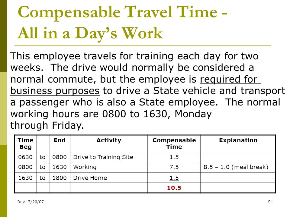 Rev. 7/20/0754 Compensable Travel Time - All in a Days Work This employee travels for training each day for two weeks. The drive would normally be con