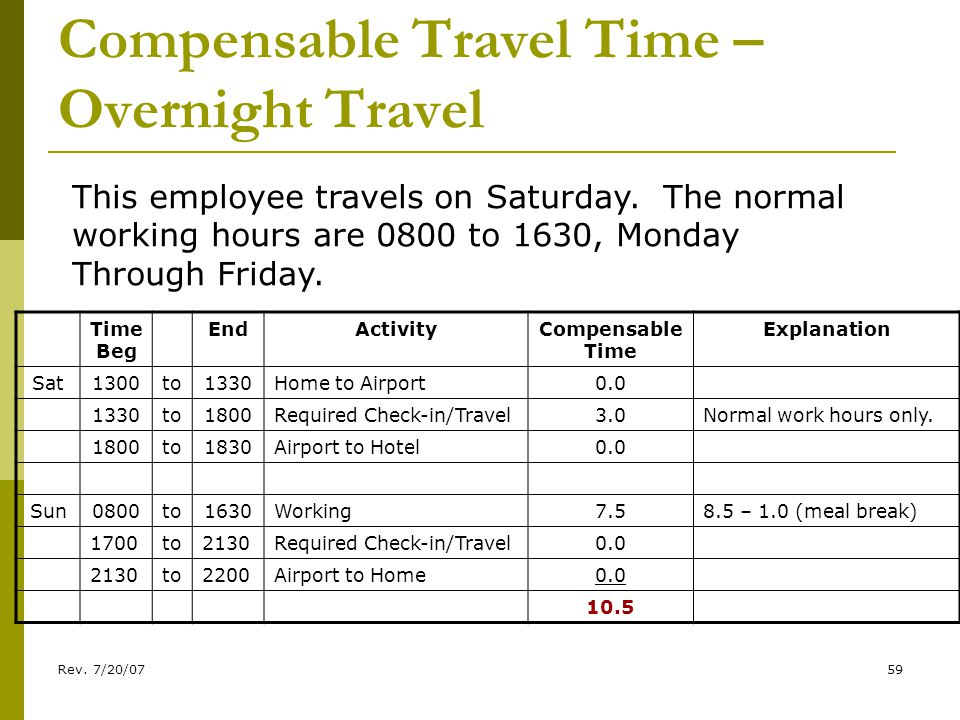 Rev. 7/20/0759 Compensable Travel Time – Overnight Travel This employee travels on Saturday.