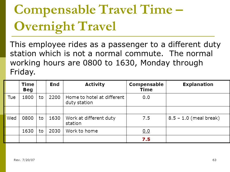 Rev. 7/20/0763 Compensable Travel Time – Overnight Travel This employee rides as a passenger to a different duty station which is not a normal commute