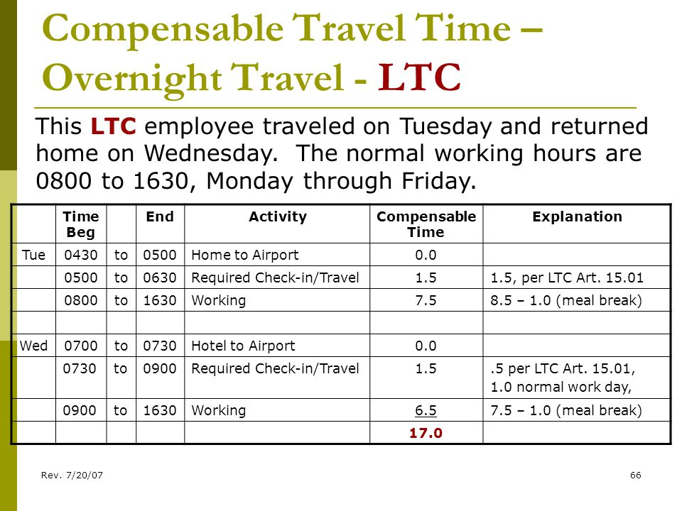 Rev. 7/20/0766 Compensable Travel Time – Overnight Travel - LTC Time Beg EndActivityCompensable Time Explanation Tue0430to0500Home to Airport0.0 0500t