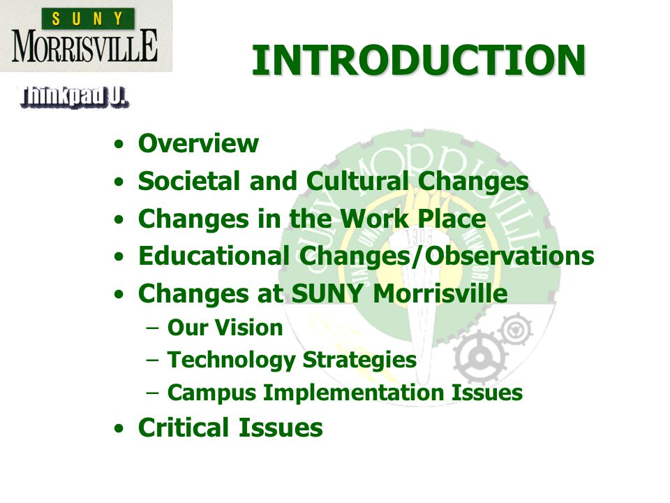INTRODUCTION Overview Societal and Cultural Changes Changes in the Work Place Educational Changes/Observations Changes at SUNY Morrisville –Our Vision –Technology Strategies –Campus Implementation Issues Critical Issues