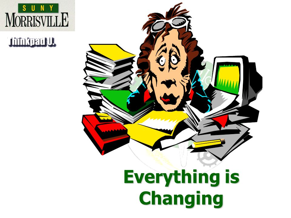 Education and Training (Knowledge)Education and Training (Knowledge) Pervasive Impact of TechnologyPervasive Impact of Technology MobilityMobility Speed or Velocity of Changes in the Work PlaceSpeed or Velocity of Changes in the Work Place Key Changes in the Work Place