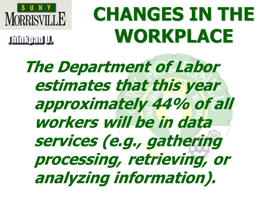 CHANGES IN THE WORKPLACE The Department of Labor estimates that this year approximately 44% of all workers will be in data services (e.g., gathering processing, retrieving, or analyzing information).