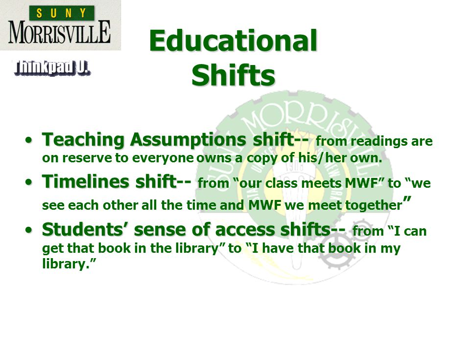 Teaching Assumptions shiftTeaching Assumptions shift-- from readings are on reserve to everyone owns a copy of his/her own.