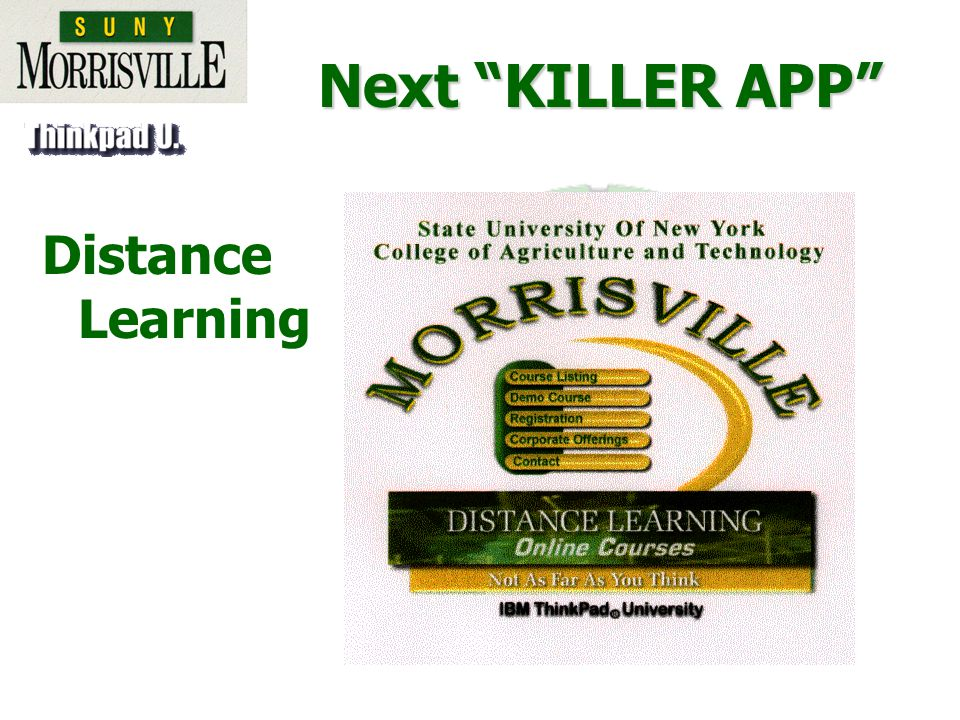 Next KILLER APP Distance Learning
