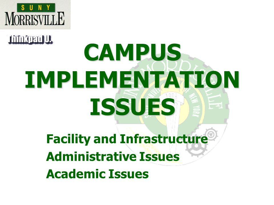 CAMPUS IMPLEMENTATION ISSUES Facility and Infrastructure Administrative Issues Academic Issues