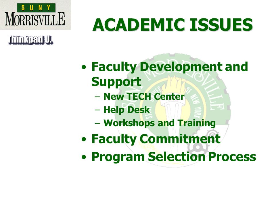 ACADEMIC ISSUES Faculty Development and Support –New TECH Center –Help Desk –Workshops and Training Faculty Commitment Program Selection Process
