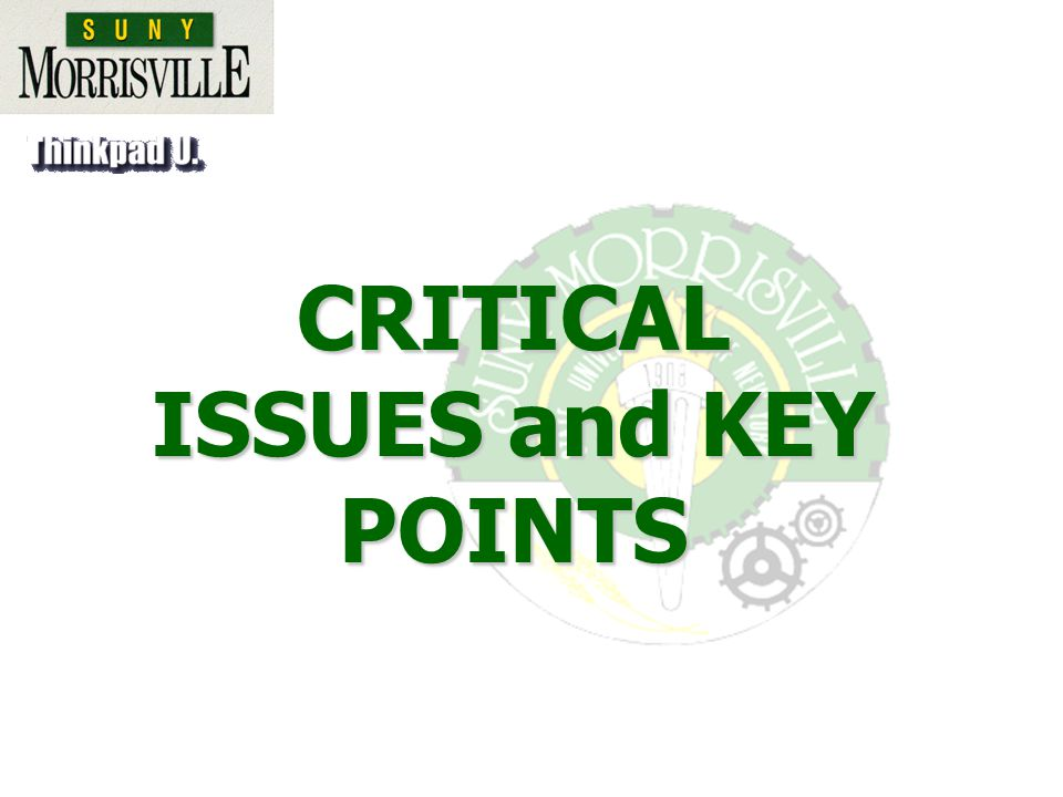CRITICAL ISSUES and KEY POINTS