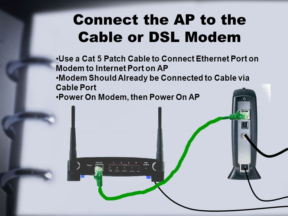 Connect the AP to the Cable or DSL Modem Use a Cat 5 Patch Cable to Connect Ethernet Port on Modem to Internet Port on AP Modem Should Already be Conn
