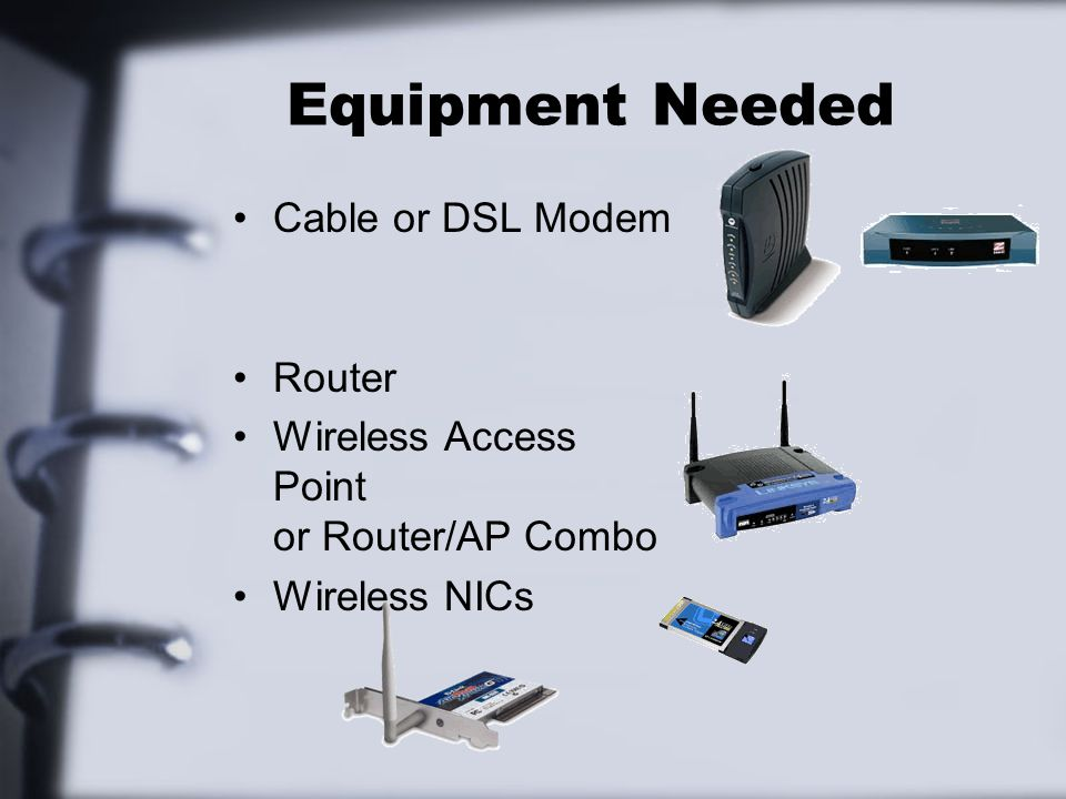 Equipment Needed Cable or DSL Modem Router Wireless Access Point or Router/AP Combo Wireless NICs