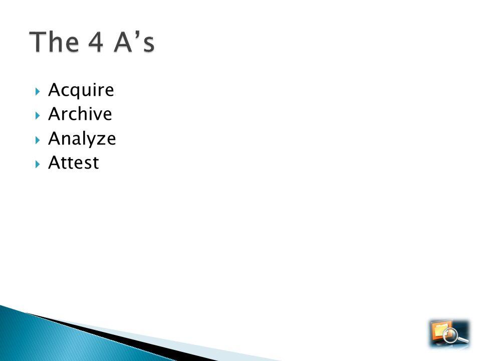Acquire Archive Analyze Attest