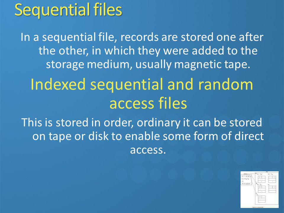 In a sequential file, records are stored one after the other, in which they were added to the storage medium, usually magnetic tape. Indexed sequentia
