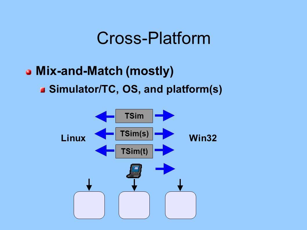 Cross-Platform Mix-and-Match (mostly) Simulator/TC, OS, and platform(s) TSim(t) TSim(s) TSim LinuxWin32