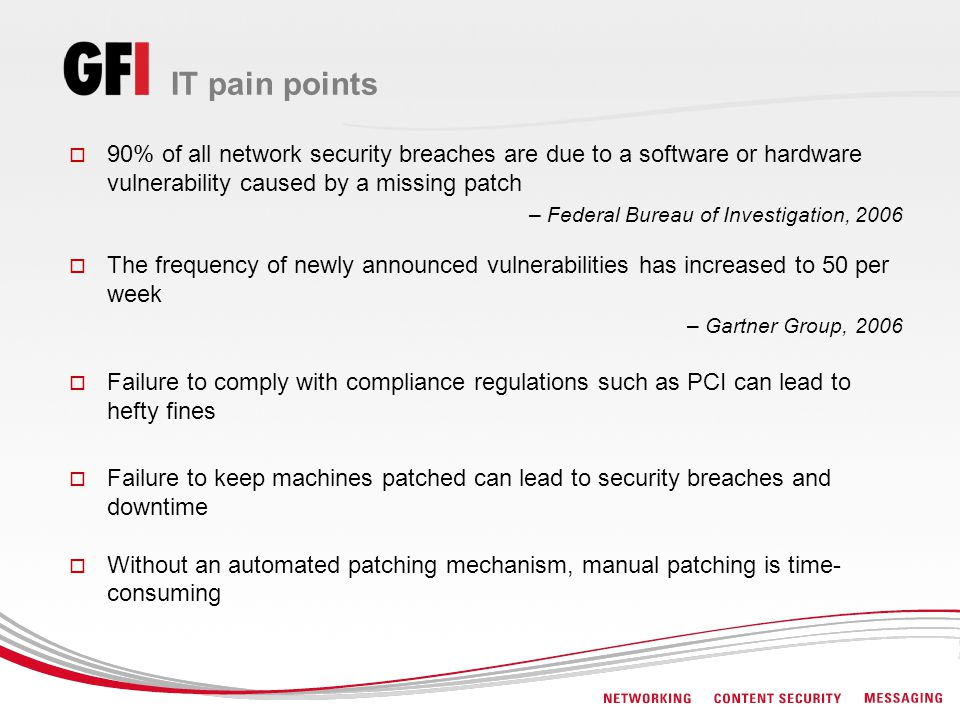 IT pain points 90% of all network security breaches are due to a software or hardware vulnerability caused by a missing patch – Federal Bureau of Inve