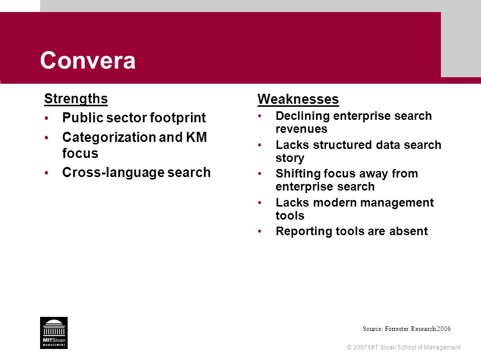 © 2007 MIT Sloan School of Management Convera Strengths Public sector footprint Categorization and KM focus Cross-language search Weaknesses Declining