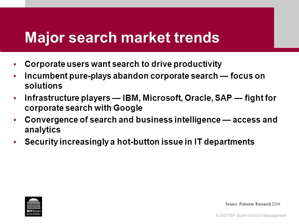 © 2007 MIT Sloan School of Management Major search market trends Corporate users want search to drive productivity Incumbent pure-plays abandon corpor