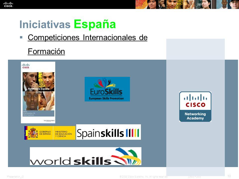 Presentation_ID 10 © 2008 Cisco Systems, Inc. All rights reserved.Cisco Public Iniciativas España Competiciones Internacionales de Formación