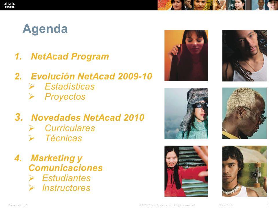 Presentation_ID 2 © 2008 Cisco Systems, Inc. All rights reserved.Cisco Public Agenda 1. NetAcad Program 2. Evolución NetAcad 2009-10 Estadísticas Proy